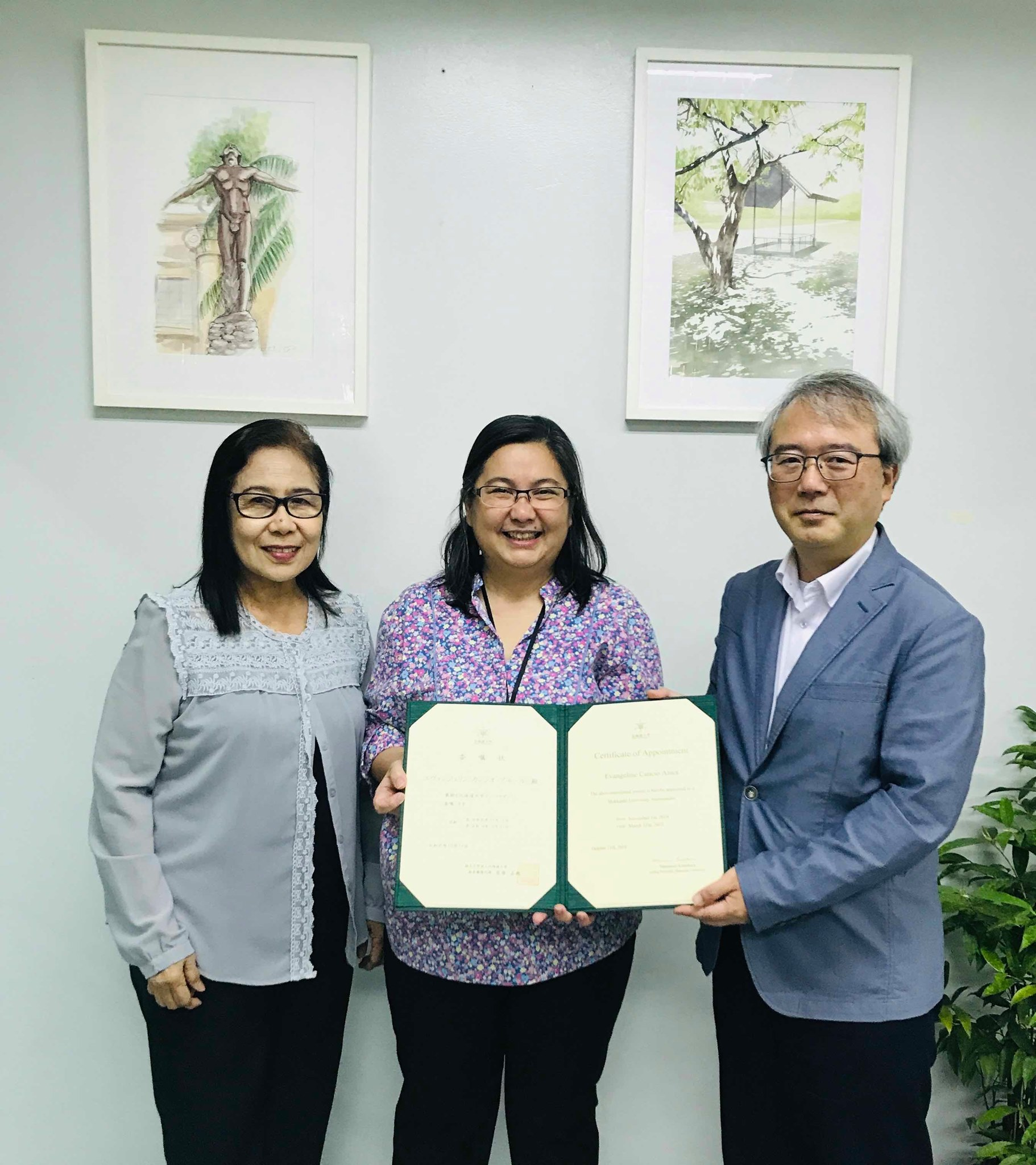 Dr. Evangeline Cancio Amor, Head of the Liaison Office in the Philippines, appointed as a Hokkaido University Ambassador